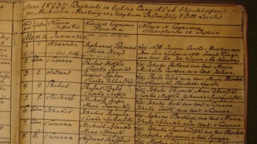 Petőfi Sándor keresztelési bejegyzése az evangélikus egyház anyakönyvében