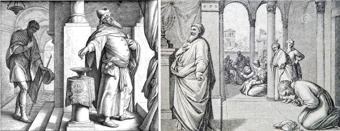 A vámos és a farizeus (fametszet és kőnyomat)