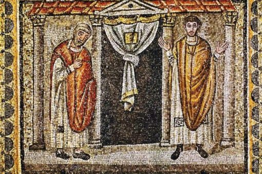 A vámszedő és a farizeus (VI. sz., Sant'Apollinare Nuovo-bazilika, Ravenna)